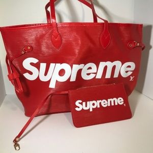 Red LV x Supreme Bag